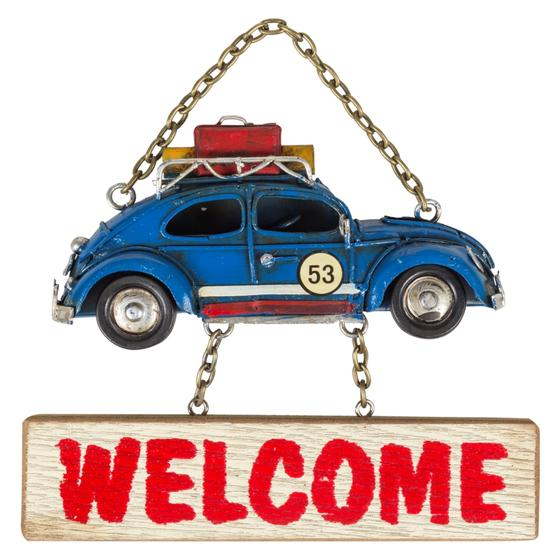 CAR WELCOME MAVİ PANO 16X22 CM