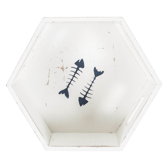 FISH BONE EKMEKLİK - BEYAZ-25X22X8CM
