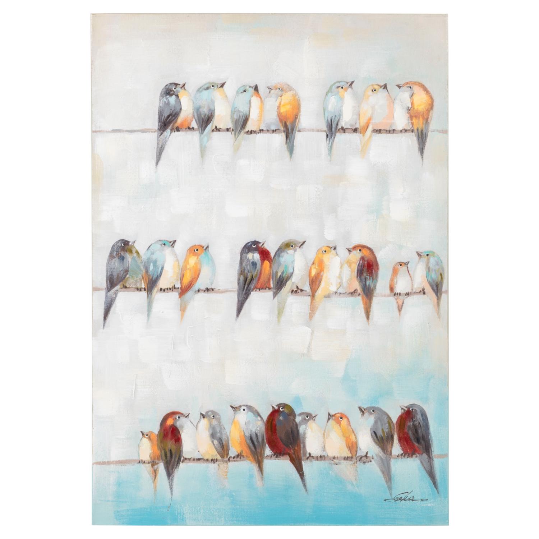 BIRDS ON THE ROWS YAĞLI BOYA TABLO 70X100 CM