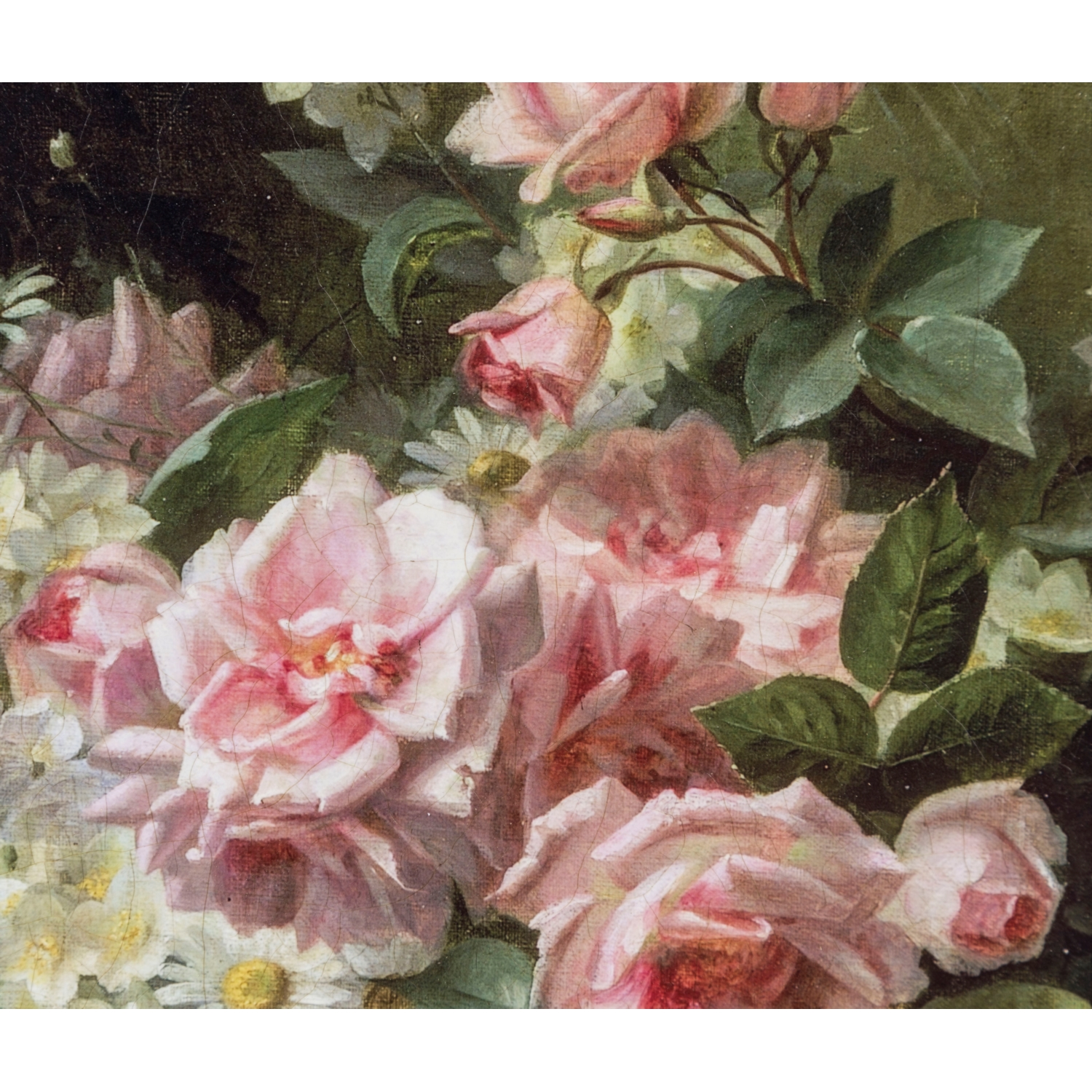 PINK ROSES AND DAISIES PANO 28X28 CM