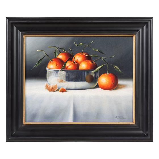 ORANGES IN SHINNY METAL BOWL 51X41 CM