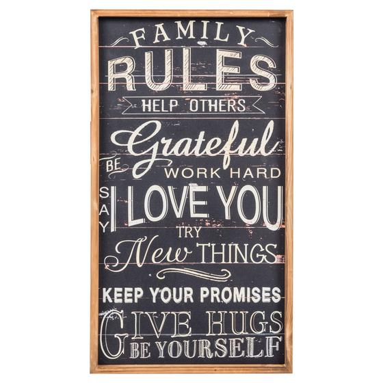 FAMILY RULES PANO 70X39 CM