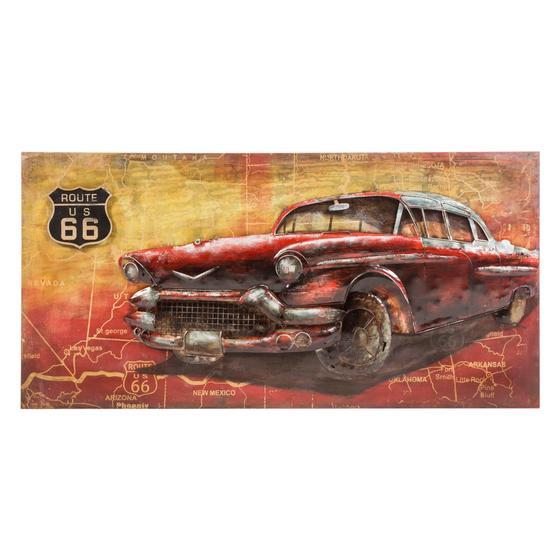 VINTAGE RED CAR FERRO PANO 140X70X6CM