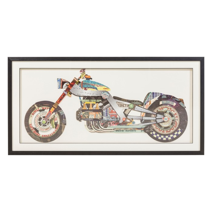 MOTORCYCLE IN BLUE PANO 130X65 CM