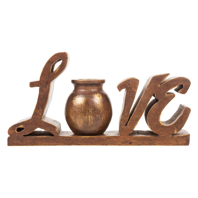 AHŞAP VAZO - LOVE 35X18CM