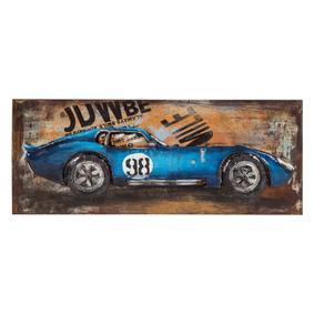 BLUE CAR METAL PANO 40X100 CM