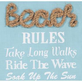BEACH RULES PANO 35X76 CM