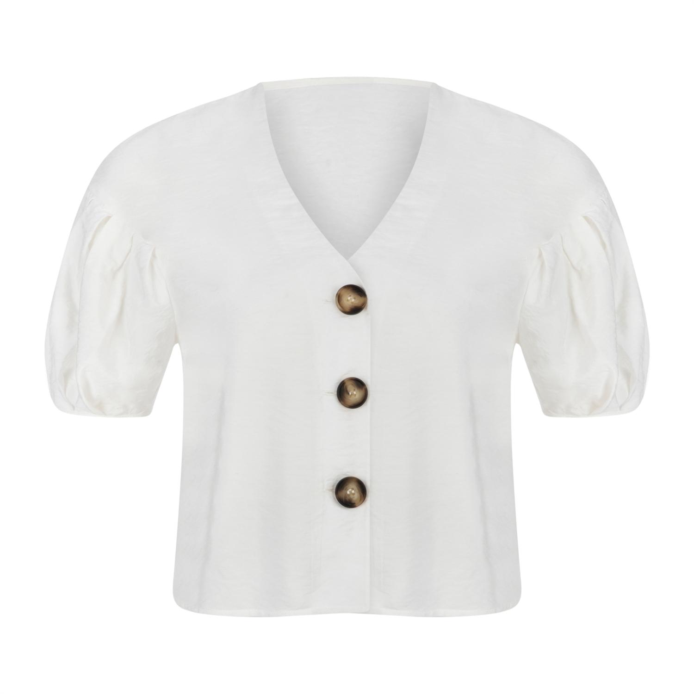 Düğme Detaylı V Yaka Casual Bluz