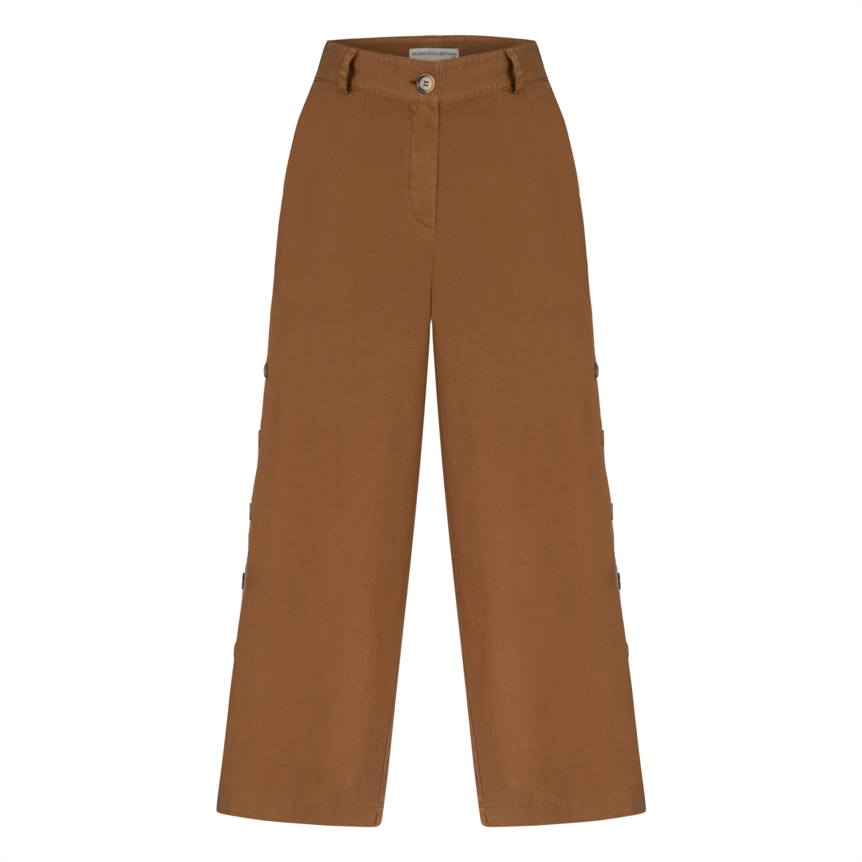 Düğme Detaylı Cropped Dokuma Pantolon